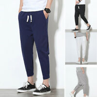 Mens Retro Cotton Linen Casual Baggy Elastic Waist Long Pants Trousers Plus Size