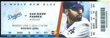 2013 Dodgers vs Padres Ticket Yasiel Puig 2 hits in MLB debut/Adrian Gonzalez HR