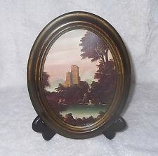 Victorian Oval Faux Wood Framed Picture Glass Stone Towers Sea Italy Action