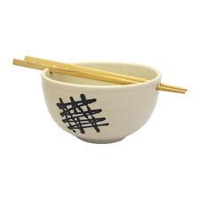 Fatto a mano Design giapponese in ceramica Bianco Riso Zuppa Ciotola con i bastoncini