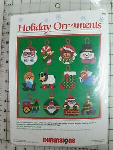 Dimensions Holiday Ornaments #9060 1988 Vintage NOS 12 Ornament Kit