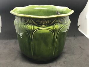 Vintage Antique Decorative Green Pottery Planter signed & numbered