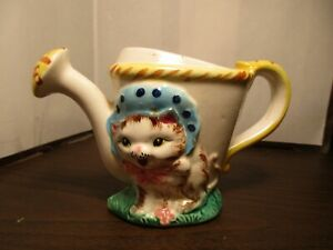Vintage Ceramic Sprinkling Can Planter - Cat - Kitten in Blue Bonnet - JAPAN
