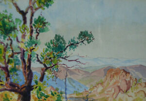 Tableau Aquarelle paysage méditerranéen signé Renoux 1927