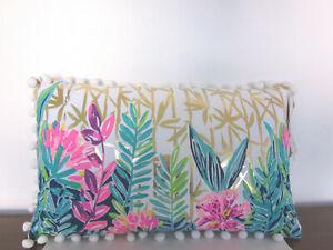 """LILLY PULITZER Decorative Throw Pillow Pom Pom  20""""x12"""" NEW"""