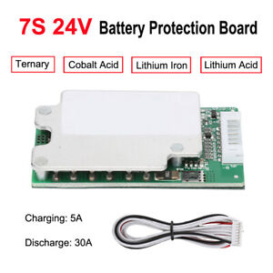 7S 24V 30A 18650 Li-ion Lithium Battery BMS PCB Protection Board  Cells