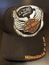 HARLEY DAVIDSON 105TH ANNIVERSARY BLACK BASEBALL CAP/HAT STRETCH/ FLEX-FIT NWOT