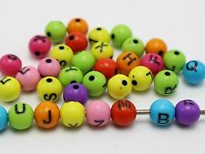 200 Mixed Color with Black Assorted Alphabet Letter Round Beads 8mm