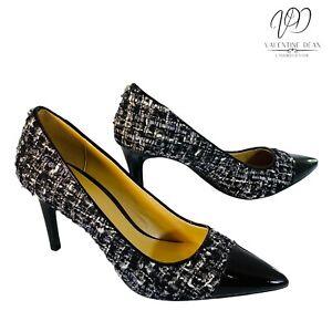Michael Kors Flex Tweed Women's Shoes Black & Silver Fabric Upper Courts Size 7