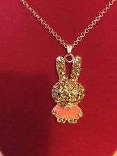 """Bunny Rabbit Pendant On Necklace W/ Clear Jewels On Silverstone Chain 24"""" Long"""