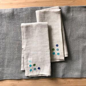 Crate & Barrel Cotton & Linen Embroidered Khaki Napkin Set 2 Milano Aqua NEW