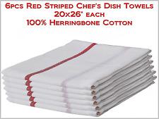 "6pcs PRO White w/Red Stripe Chef's Dish Towels 20x26"" Herringbone - 100% Cotton"