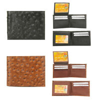 DBFL Men's Genuine Leather Ostrich Embossed Flip ID Bifold Wallet