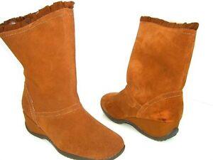Sporto Abbey Tan Light Brown Women's Pull On Boots Faux Fur Water Proof Sz 8.5 M