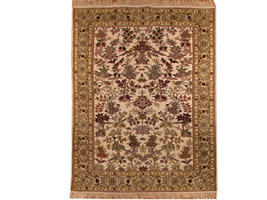 Silk Rug Hand-Knotted 4' X 6' Ivory - Light Gray Wildlife Classic Rug
