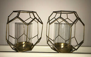 New Geometric Gold Metal and Glass Candle Holder Lanterns