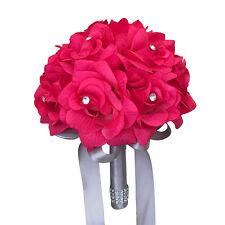 "Hot Pink Gray:8""Bridesmaid rose Rhinestone bouquet Wedding silk Flower."