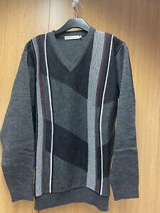 Men's Grey Black Red Grey V Neck Jumper From EWM Pure Classics Size Medium VGC