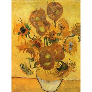 Van Gogh Still Life Fifteen Sunflowers Vase Large Wall Art Print 18X24 In