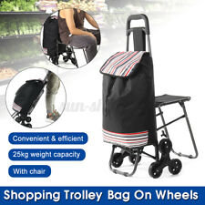 New Foldable Shopping Cart Portable Trolley Carry Bag Wheels With Chair Luggage