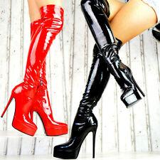 Damen Plateau Stiefel Overknee Lack Boots Sexy Schuhe GOGO High Heels Party M16