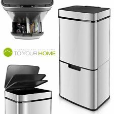 Dihl 75L Steel Dual Twin Compartment Recycling Recycle Automatic Dust Sensor Bin