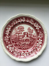 """COPELAND SPODE'S TOWER PINK 9.5""""  PLATES OLD MARK ENGLAND RED"""