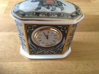 "Wedgwood "" Blue Elephant "" Mantle Clock 9cm Tall. 1st Quality"