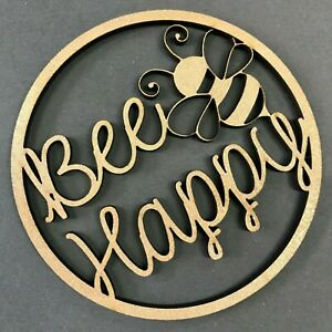 *ANY COLOUR* Wooden Bee Happy Hoop - Circle Loop Plaque - Positive quote gift