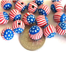 American Flag Stars and Stripes Charms Beads FIMO CLAY Round 8mm*20pcs