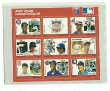 Ernie Banks Ted Williams Dale Murphy Grenada Stamp Plate Block of 9 W/COA