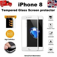 100% GENUINE Full 3D Coverage Tempered Glass Screen Protector for iPhone 8 WHITE