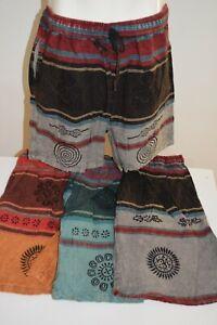 Mens Shorts Pants cotton hippy Boho Comfy Unisex Summer weight hippie print aum