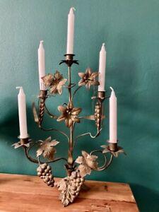 bougeoir chandelier d'église épis de blé , fleurs  , raisin bronze laiton