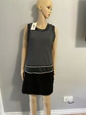 Womens Soggo Paris Designer Black Sleeveless Dress Size S / M BNWT