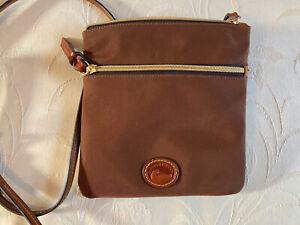 Dooney & Bourke Brown Canvas Leather Trim Purse Shoulder Crossbody Bag MINT