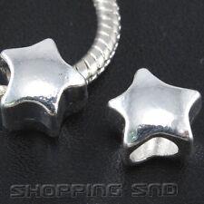 50pcs Tibetan Silver Tone Spacer Beads Fit European Charm Bracelet Star Murano