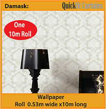 DAMASK: ANTIQUE DAMASK DESIGN PVC WALLPAPER ROLL: natural white / cream