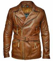 Mens 3/4 Motorcycle Biker Brown Distressed Vintage Leather Jacket