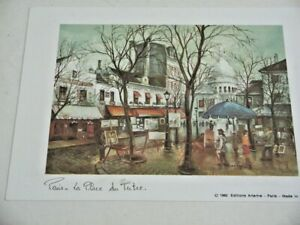 Paris Place du Tertre 1982 Editions Artertre Art Card Made in France Framed Prin