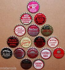 Vintage soda pop bottle caps CHERRY FLAVORS Lot of 17 different new old stock