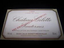 etiquette vin Chateau GILETTE 1986 crème de tête sauternes wine label bordeaux