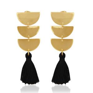 14K Gold Plated Brass Handmade Tassel Black Thread Earrings Fashion Jewelry