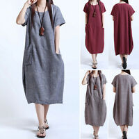 Women's Casual Summer Short Sleeve Linen Loose Cocktail Dress Plus Size M L -5XL