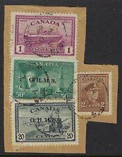 Scott O273-C and O250-E (4-Hole OHMS); O11 50c Oil and O8 20c Peace overprints