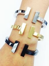 Stainless Steel THICK PLAIN T-BANGLE BRACELET CUFF with the HINGE for WOMEN
