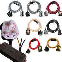 Vintage Fabric Flex Cable Plug In Pendant Lamp Light kit ES E27 Fitting Bulb