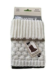 Bearpaw Knit Womens 100% Acrylic Cream/ Off White Color Boot Toppers One Size