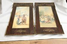 Art Nouveau Pair of Antique Dutch 1800's Watercolor Collotype Art and Frames