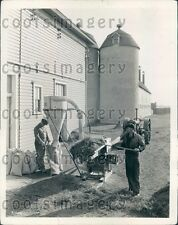 Farmers Using Hammer Feed Mill For Grinding Racine County WI Press Photo